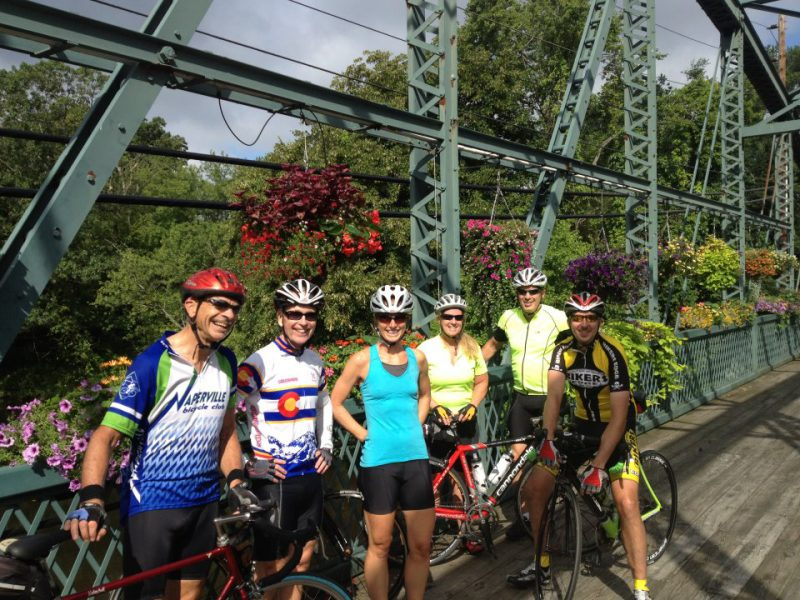 Weekday Cyclists meet daily for a ride at The Flower Bridge