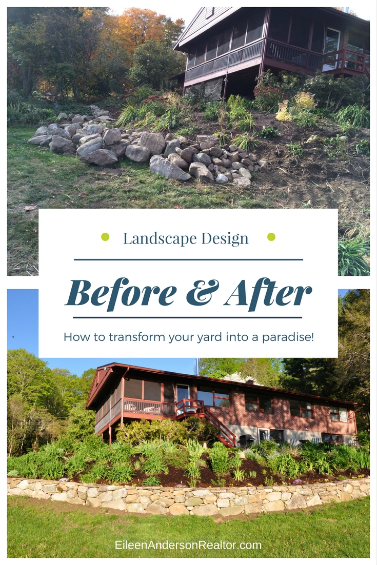 Landscape Design Before and After Stone Wall, curb appeal, home staging, diy, home renovation, home improvement, landscape design, hardscape, how to build stonewalls, garden ideas, perennial beds, patio