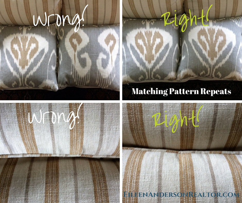 Example of how to match your fabrics on each seat cushion.