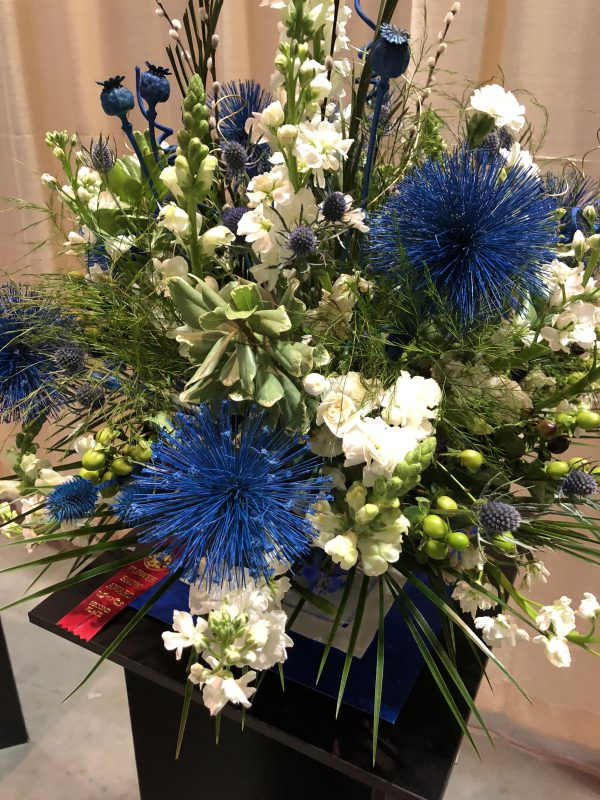 My favorite colors! Blue, green and white floral design.